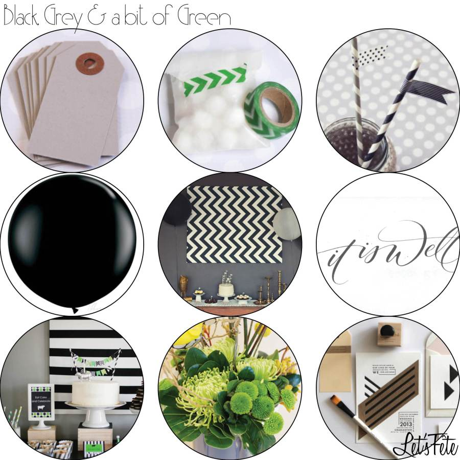 Let's Fête Black Grey and Green Inspo Board