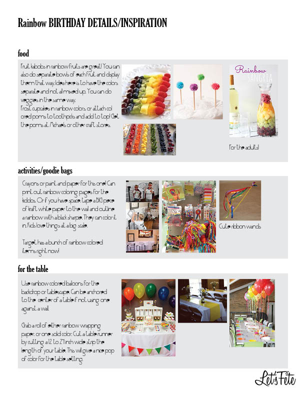 Let's Fête Rainbow Birthday Inspo Board