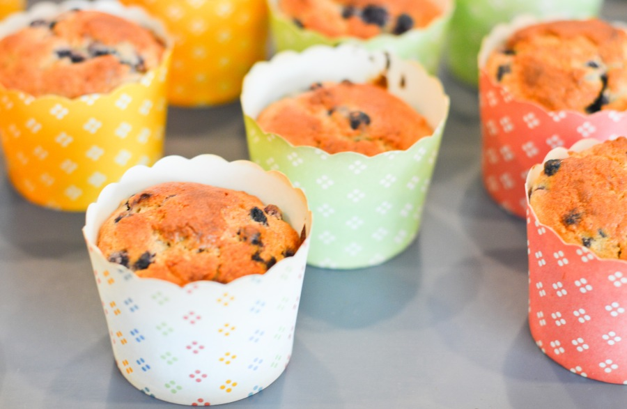 Let's Fête banana blueberry muffins