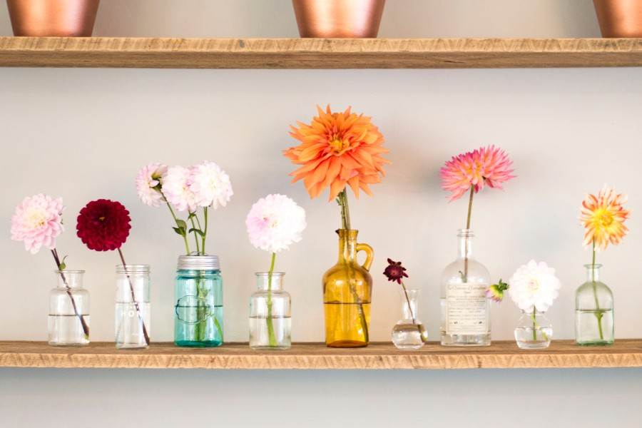 Let's Fête reclaimed shelves flowers