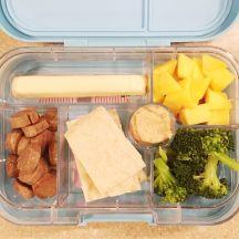 mango, cheese stick, chicken sausage, pita, hummus, broccoli