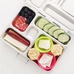 crackers, cheese, turkey, cucumbers, blackberries, dried papaya, rainbow carrots