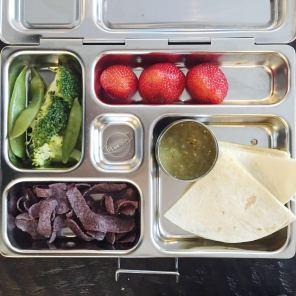cheese quesadilla w salsa verde, strawberries, snow peas, broccoli, blue corn chips
